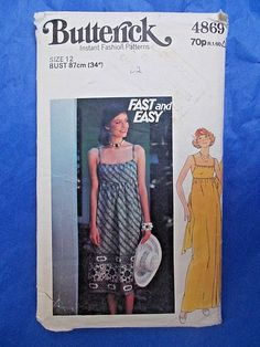 """Vintage sewing pattern 1980s empire line summer dress 34"""" bust Butterick 4869 