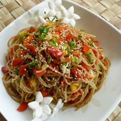 Sesame Noodle Salad Recipe Salads with angel hair, sesame oil, soy sauce, balsamic vinegar, hot chili oil, white sugar, sesame seeds, green onions, red bell pepper