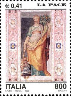 """2000 - Avvento dell'anno 2000, la pace - affresco """" figura allegorica """" di Taddeo Zuccari, nel Palazzo Farnese di Caprarola (Viterbo)"""