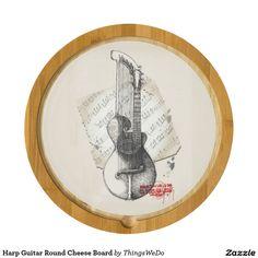 Harp Guitar Round Cheese Board