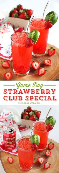 Strawberry Club Special Cocktail is a fresh and fruity drink recipe to serve at your next party. A perfect game day cocktail with a lime football garnish! Cute football party drink or summer cocktail! Fruity Drinks, Fun Cocktails, Non Alcoholic Drinks, Party Drinks, Summer Drinks, Cocktail Drinks, Fun Drinks, Cocktail Recipes, Beverages