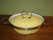 MES saucepan pot enamel stained steel 50s 60s