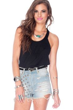 Twist Back Around Tank Top in Black $29 at www.tobi.com