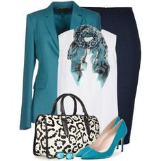 """Chic Professional Woman Work Outfit. Classy Chic. """"Turquoise, Black & White"""" by brendariley-1 on Polyvore"""