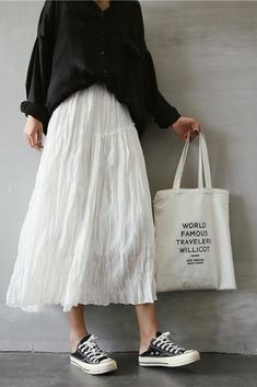 Spring and Summer Cotton Linen Long Skirt For Women - FantasyLinen Source by krishellubis White skirt outfit Long Skirt Outfits For Summer, White Skirt Outfits, Winter Skirt Outfit, Long Skirts For Women, White Skirts, Mode Outfits, Korean Outfits, Fashion Outfits, Moda Fashion