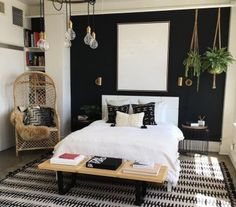 49 Lovely Black Accent Walls Bedrooms Ideas Black bedroom walls make a huge impact in the space but you want to make sure that it is making […] Stylish Bedroom, Cozy Bedroom, Dream Bedroom, Modern Bedroom, Bedroom Decor, Bedroom Ideas, Bedroom Designs, Bedroom Black, Contemporary Bedroom