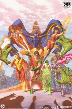Teen Titans: Tribute Fine Art Lithograph by Alex Ross | Sideshow Collectibles Alex Ross, Teen Titans, Comic Books Art, Comic Art, Robin And Raven, Dc Comics Collection, George Perez, New Teen, Sideshow Collectibles