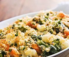 Cheesy vegetable casserole that makes a wonderful winter side dish.  *easy on the cheese