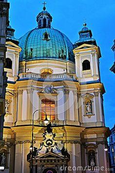 Peterskirche baroque church by night in Vienna, Austria