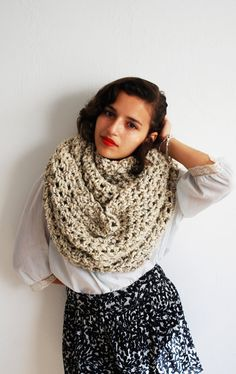 The Oversized Cowl or Hood Hand Knit in Oatmeal by RememberADay, $90.00