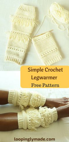 The Boho Chic crochet legwarmer pattern is a fun and unique design. The fringes lends a hippie look that's sure to compliment your outfits. Crochet Leg Warmers, Crochet Boot Cuffs, Crochet Boots, Crochet Gloves, Crochet Slippers, Beginner Crochet Projects, Crochet Patterns For Beginners, Crochet Socks Pattern, Crochet Accessories
