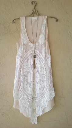Image of Pins and Needles Free People Lace and crochet tunic dress