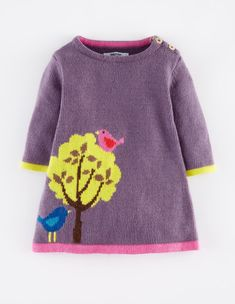 Mini Boden- Birdies in Tree Knit DressMy Baby Knitted Dress 71375 Dresses at Boden: My favourites from the Mini Boden winter .This is the first time Im doing a picks post from the Mini Boden Collection but my little one is coming of age now and I . Baby Dress Clothes, Baby Girl Dresses, Baby Outfits, Kids Outfits, Baby Girls, Dress Girl, Kids Girls, Cardigan Bebe, Crochet Cardigan