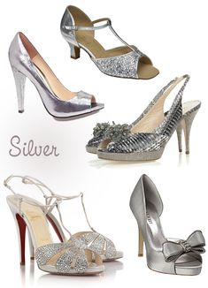 2ec6ad05faf589 Love the one with the bow at the bottom right Scarpe Da Sposa Color Argento,