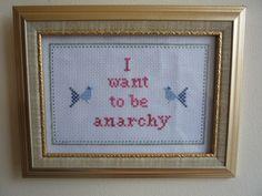 Sex Pistols Anarchy cross stitch sampler PDF pattern. $4.95, via Etsy.