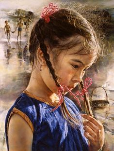 """The Breeze"" - Wai Ming, b. 1938 {figurative artist pretty female head Asian girl face portrait painting} Innocent !!"