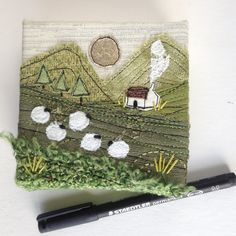 So I've just finished off these chunky little mini landscapes and then noticed that I hadn't embroidered any tree trunks. I had to use a permanent marker to draw them on. Free Motion Embroidery, Free Machine Embroidery, Embroidery Applique, Embroidery Patterns, Fabric Postcards, Fabric Cards, Mini Toile, Altered Canvas, Fabric Pictures
