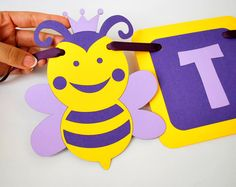 Bee Banner Baby Shower Banner Handmade Banner Bee name Banner cute Bee party A840