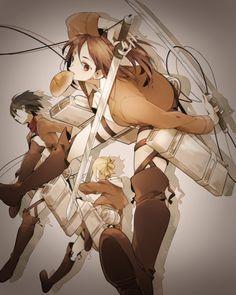 Annie Leonhart, Mikasa Ackerman and Sasha Blouse