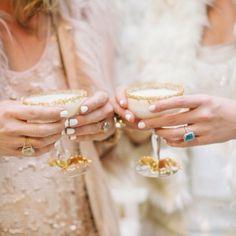 glittery cocktails & white nails