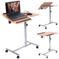 Adjustable Laptop Notebook Desk Table Stand Holder Swivel Home  Office Wheels…
