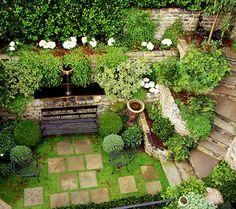Slightly skewed pavers add handmade sense to a sunken garden (Elizabeth Everdell Garden Design). Sunken Patio, Sunken Garden, Back Gardens, Small Gardens, Vertical Gardens, Formal Gardens, Outdoor Gardens, Landscape Design, Garden Design