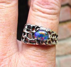 Mens ring. Vivid Fire Opal ring. Genuine Australian by AmyKJewels