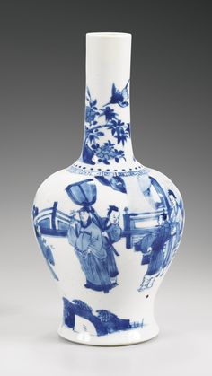 A BLUE AND WHITE VASE, QING DYNASTY, KANGXI PERIOD 25,6 cm