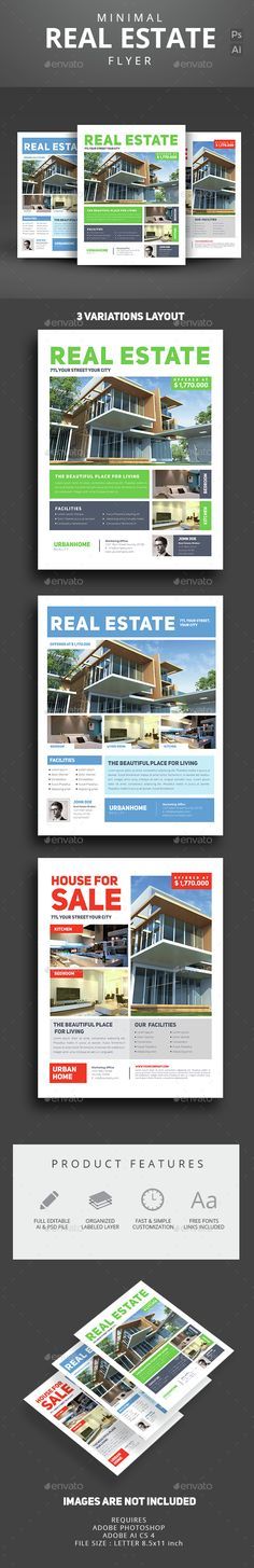 Minimal Real Estate Flyer — Photoshop PSD #agent #poster • Available here → https://graphicriver.net/item/minimal-real-estate-flyer/14614035?ref=pxcr