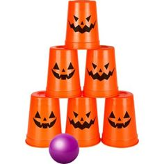 The Jack-o'-Lantern Knock Down Game includes 6 orange plastic cups with jack-o'-lantern faces on them and a purple ball. Everyone at your party can get involved in the fun with this plastic Halloween-themed knock down game! Childrens Halloween Party, Halloween Activities For Kids, Halloween Food For Party, Halloween Birthday, Halloween Couples, Halloween Recipe, Women Halloween, Halloween Diy, Halloween Projects
