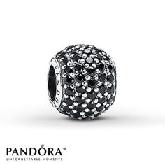 Rows of round black crystals grace every surface of this globe-shaped sterling silver charm from the Pandora Moments Holiday 2012 collection. Style # 791051NCK.