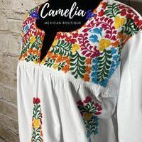 San Antonio Mexican Blouse - 3/4 Sleeve – Camelia Mexican Boutique Mexican Top, Mexican Blouse, Mexican Dresses, Muslin Fabric, San Antonio, Color Patterns, Favorite Color, V Neck, Boutique