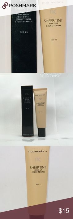 Sheer Tint Make-up creme Teintee SPF 15 Make -Up SPF 15, 30 ml  Triple action coverage foundation,moisturizer and sunscreen in one. Sheet tint give a healthy glow,this oil-free foundation also lightly moisturizes and protects.    Two Colors: Dark -Mat  Medium Nutrimetics Makeup Face Powder