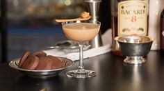 The Tagalong - Girl Scout Cookie Cocktail  How to make it: Take 2oz rum, 3/4oz peanut rum creme, 1/4oz vanilla creme de cacao, and 2 dashes of mole bitters, shake it all vigorously with ice and strain it into a coupe. Now garnish with a mini-spoon scoop of peanut butter. Whatever you do, don't Skippy that step.