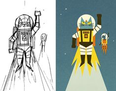 ben-newman-illustration:  Astro Cat from Sketch to final.