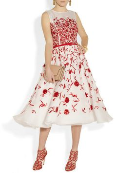Off-white semi-sheer silk-organza Crimson raffia and thread embroidery, detachable buckle-fastening grosgrain belt, lined at the skirt Concealed hook and zip fastening at back 100% silk Dry clean