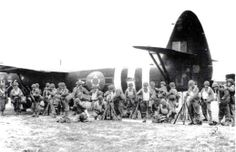 US troops preparing to board Horsa gliders for Normandy, France assault, England, Jun 1944.