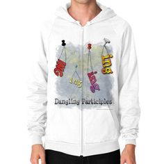"WordPlay ""Dangling Participles"" Zip Hoodie (on man) designed by Neal Fox & Ron Kule"
