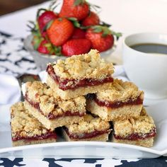 Super Easy Strawberry Shortbread Crumble or Crumble Bars~T~ These are good. I used some homemade strawberry jam left from last year. Any good quality whole fruit jam works. Don't use pectin based jelly.