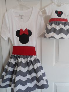 Minnie Mouse Disney Dress with Matching AG Doll Dress - Gray Chevron - CUSTOM - Sizes 12 Months to 6 Years by littledebsdresses, $59.50
