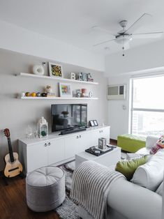 Working with white helped the owner achieve her dream space Condo Interior Design, Condo Design, House Design, House Tours, Corner Desk, Living Room, Future, Space, Ideas