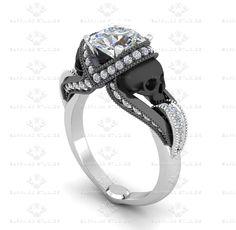 Aphrodite 1.60ct Diamond Skull White Gold Engagement Ring