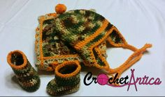 Crochet, baby boy, camouflage, orange, gift set, hat, bootie, blanket, hunter, baby shower gift, newborn, rustic,baby boy camo,free shipping - pinned by pin4etsy.com