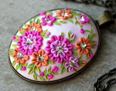 Lovely Floral Clay Applique Pendant in Pink от charancreations