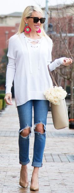 #spring #fashion / White Top / Cream Leather Tote Bag / Destroyed Skinny Jeans / Nude Pumps