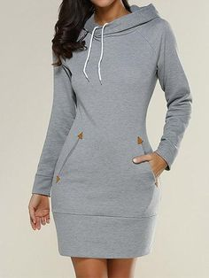 Chicnico Casual Hoodie High Neck Pullover Top Dress