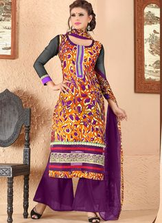 #Purple #Cotton #Plazo #Suit With Patch Work
