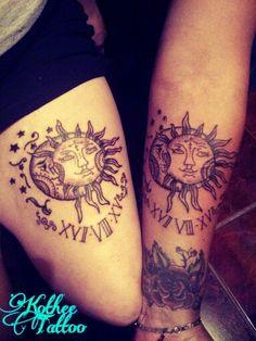 Tatuaje en pareja , muslo y ante brazo