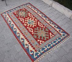 GRATIS VERZENDING! Vintage handgeweven Anatolische Turkse Cappadocië nomaden Kilim, gebied tapijt, Oushak Kilim