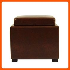 Safavieh Hudson Collection Kaylee Leather Single Tray Square Storage Ottoman, Cordovan - Improve your home (*Amazon Partner-Link)